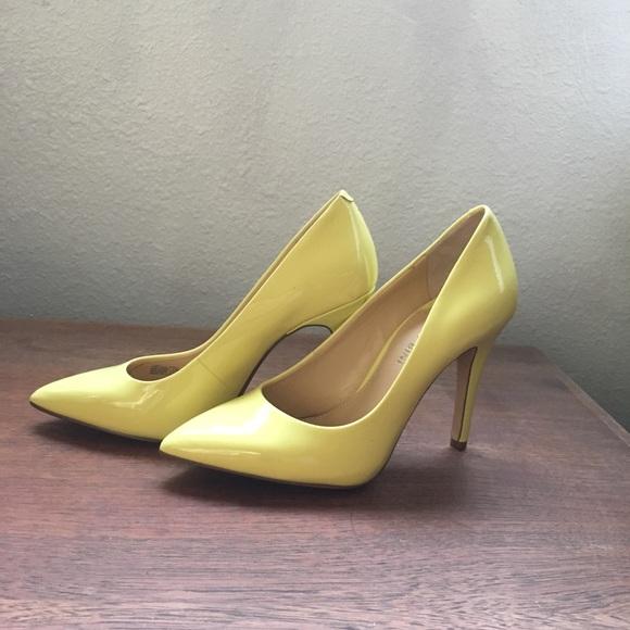 Lemon Yellow High Heel Court Shoes